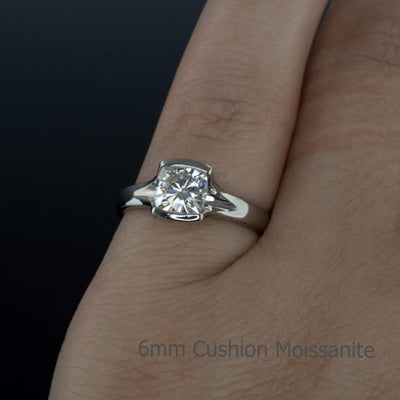 Bridal Set Cushion Cut Moissanite Fold Semi-Bezel Set Solitaire Engagement Ring & Wedding Band - by Nodeform