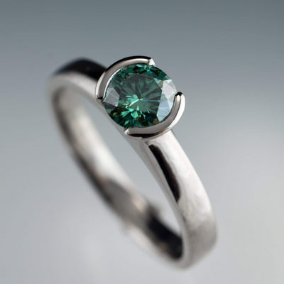 Green Moissanite Round Half Bezel Solitaire Engagement Ring - by Nodeform