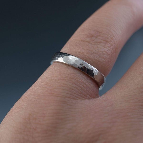 Narrow Hammered Texture Wedding Bands, Set of 2 Rings