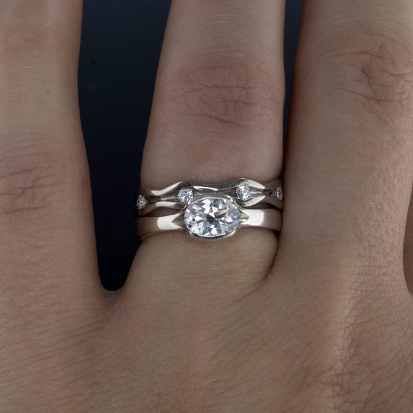 Oval White Sapphire Half Bezel Fold Solitaire Engagement Ring - by Nodeform