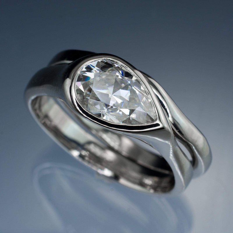 Pear Moissanite Tear Drop Bezel Bridal Set Engagement Ring and Wedding Band - by Nodeform