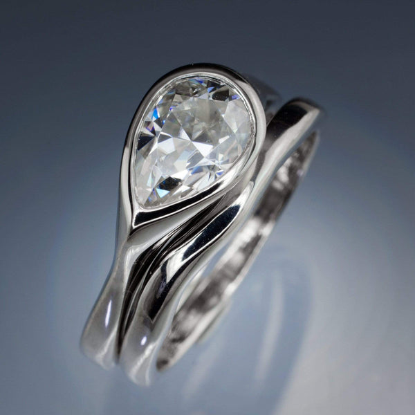Pear Moissanite Tear Drop Bezel Bridal Set Engagement Ring and Wedding Band
