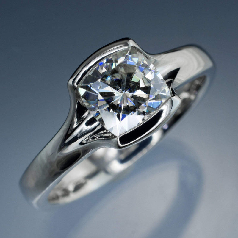 Cushion Cut Moissanite Fold Semi-Bezel Set Solitaire Engagement Ring