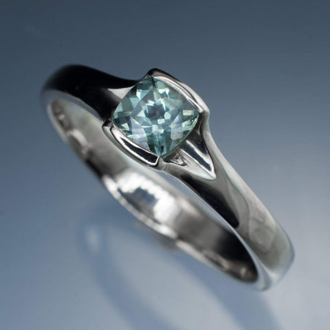 Cushion Fair Trade Teal Green Blue Sapphire Fold Engagement Ring