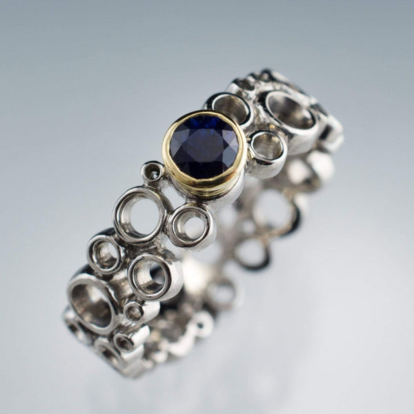 Cluster Sapphire Ring, Gold Bezel Set Wedding or Engagement Ring - by Nodeform