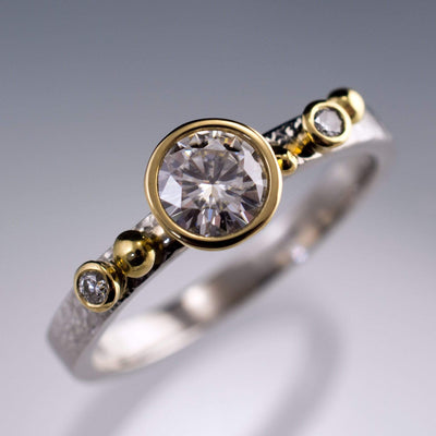 Engagement Ring Round Moissanite & Diamonds in 18k Gold Accents - by Nodeform