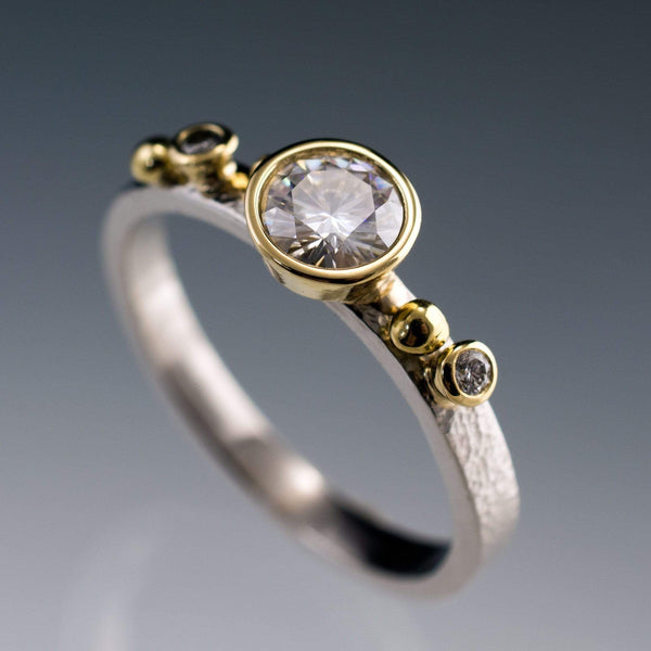 Diamond Gold Bezel Engagement Ring with in 18k Gold Accents