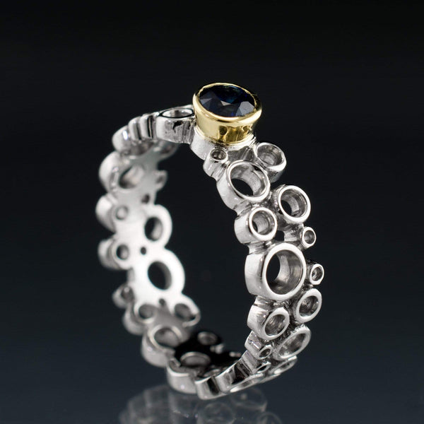 Cluster Sapphire Ring, Gold Bezel Set Wedding or Engagement Ring