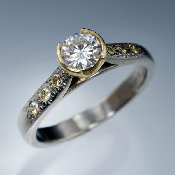 Moissanite Half Bezel Champagne Diamonds Star Dust Engagement Ring - by Nodeform