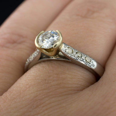 Moissanite Half Bezel Engagement Ring, Champagne Diamond Star Dust Textured, size 6 to 8 - by Nodeform