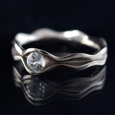 Wave White Sapphire Engagement Ring