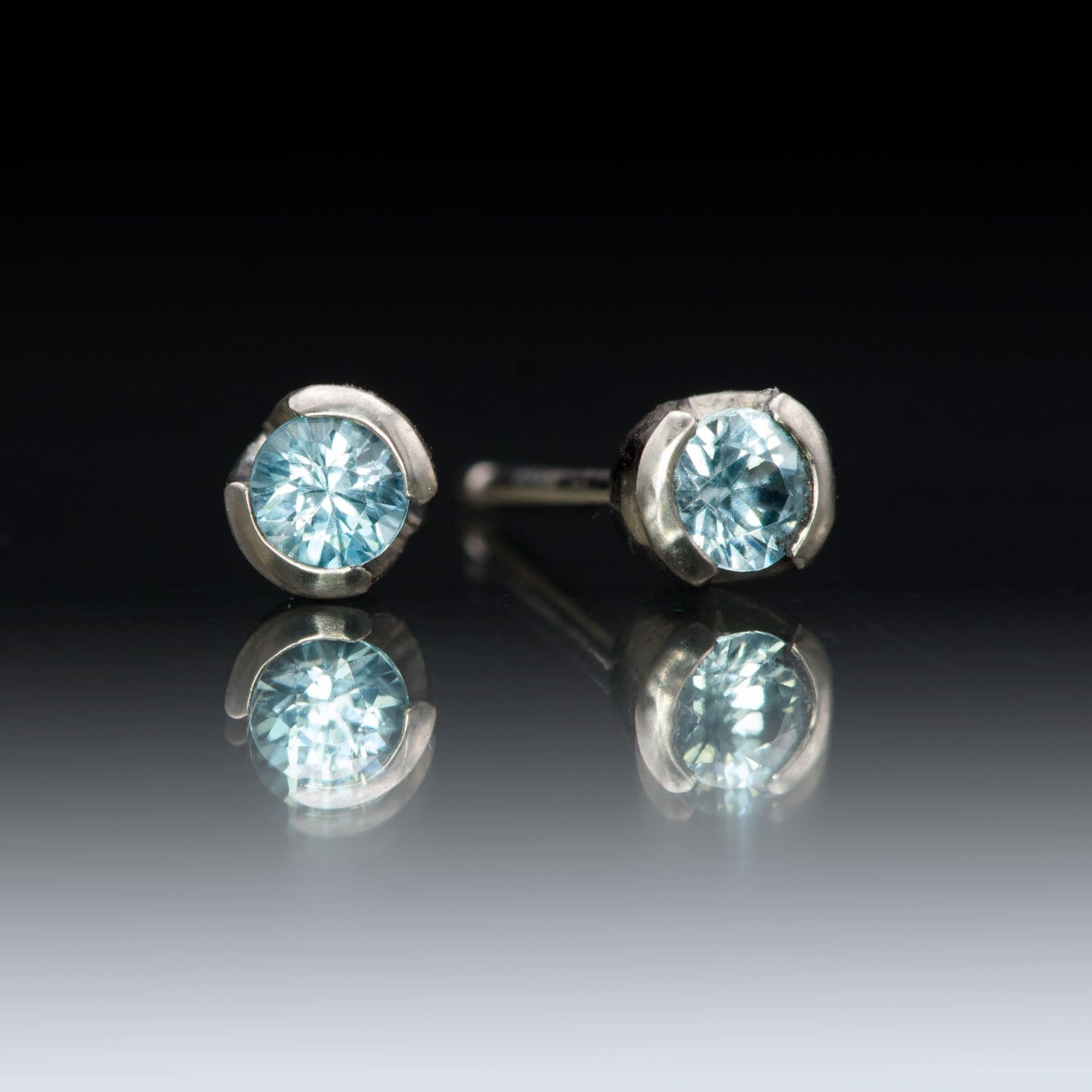Round Blue Zircon Palladium Half Bezel Studs Earrings, Ready to Ship