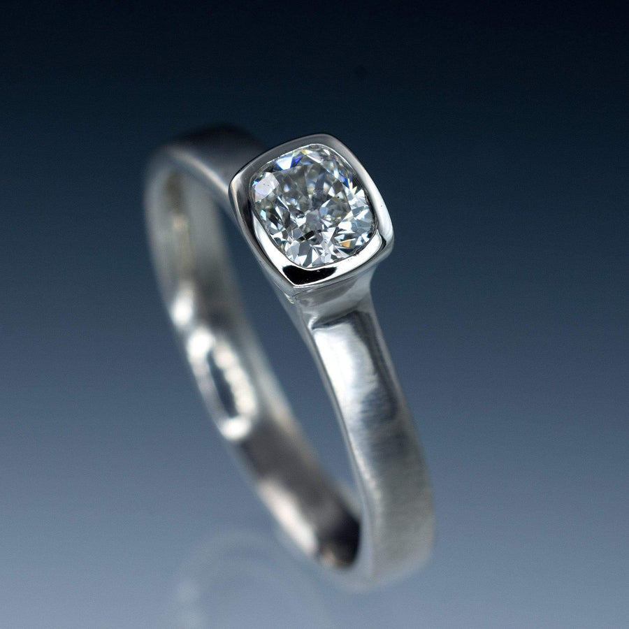 Cushion Cut Diamond Bezel Set Solitaire Engagement Ring - by Nodeform