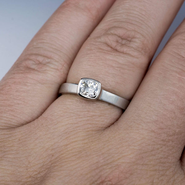 Cushion Cut Diamond Bezel Set Solitaire Engagement Ring