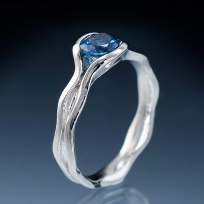 Wave Fair Trade Teal /  Blue Montana Sapphire Solitaire Engagement Ring
