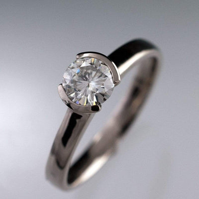Round Moissanite Modified Tension Solitaire Engagement Ring - by Nodeform