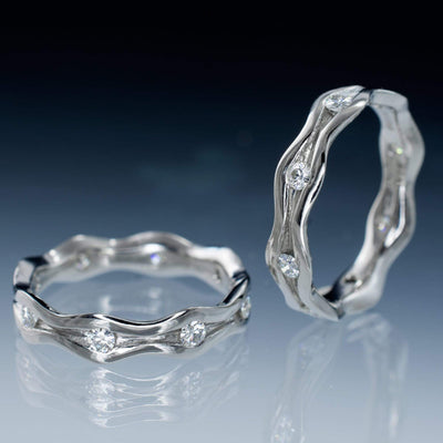 Wave Moissanite Eternity Wedding Ring