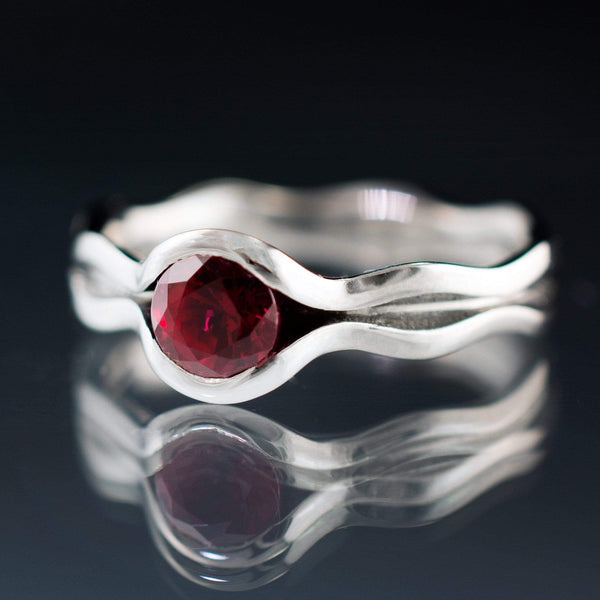 Wave Ruby  Engagement Ring - by Nodeform