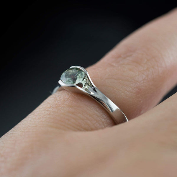 Large Pale Green Fair Trade Montana Sapphire Round Fold Engagement Ring - by Nodeform