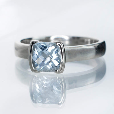 Cushion Aquamarine Half Bezel Solitaire Engagement Ring - by Nodeform