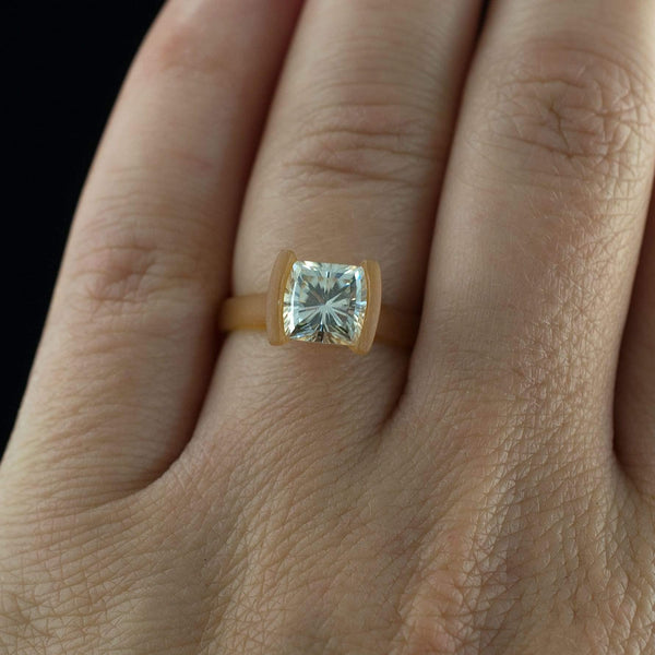 Barrel Cut Moissanite Modified Tension Solitaire Engagement Ring