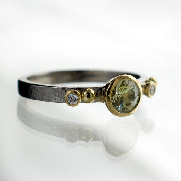 Engagement Ring Cream to Pale Green Montana Sapphire & Diamonds in 18k Gold Accents - by Nodeform
