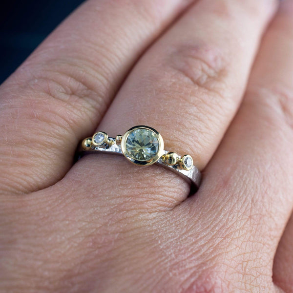 Engagement Ring Cream to Pale Green Montana Sapphire & Diamonds in 18k Gold Accents