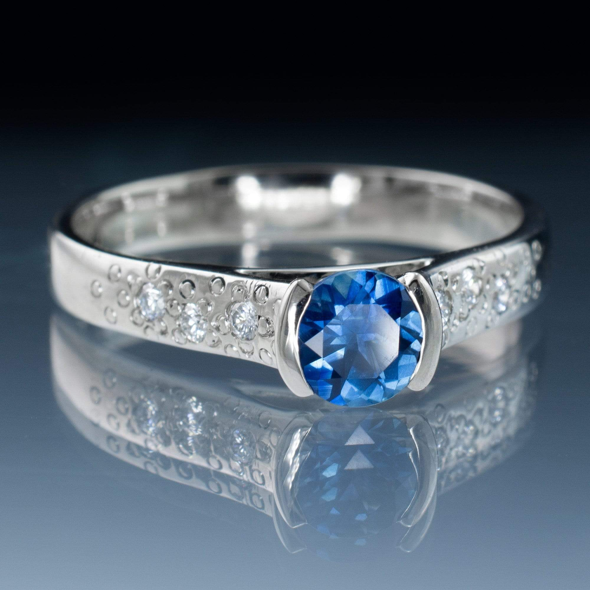 Fair Trade Blue / Teal Malawi Sapphire Half Bezel Diamond Star Dust Engagement Ring