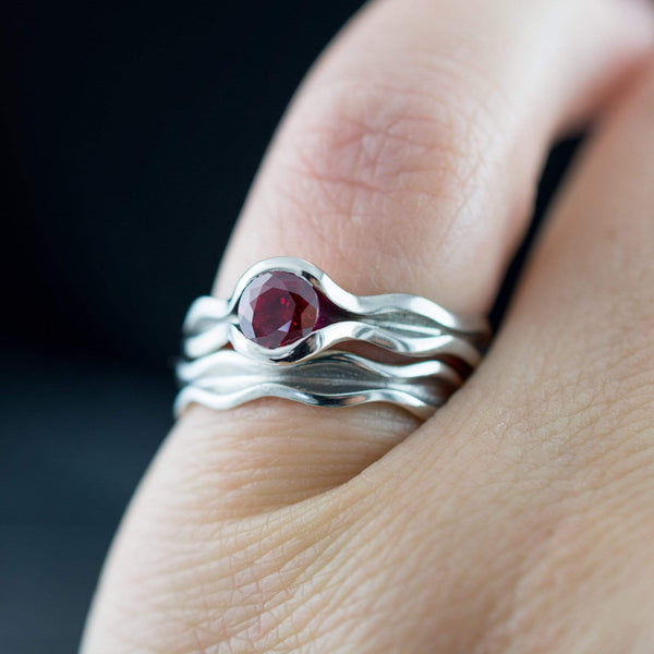 Wave Ruby Engagement Ring Bridal Set - by Nodeform