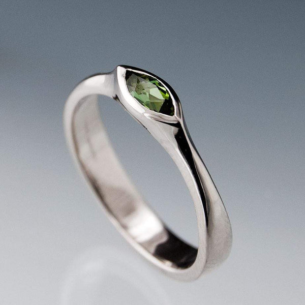 Marquise Green Tourmaline Bezel Solitaire Engagement Ring - by Nodeform