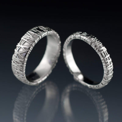 Woven Texture Wedding Bands, Set of 2 Bird Nest Rings - by Nodeform