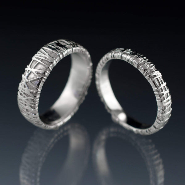 woven texture weddingt rings
