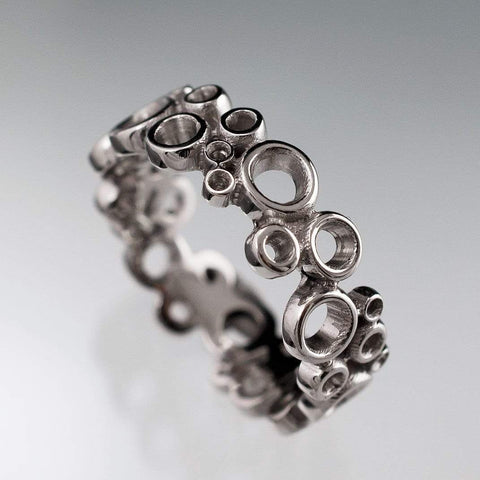 Cluster Wedding Ring, Wide Bubbly Wedding Band - by Nodeform