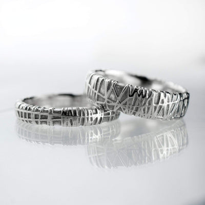 Woven Texture Wedding Bands, Set of 2 Bird Nest Rings