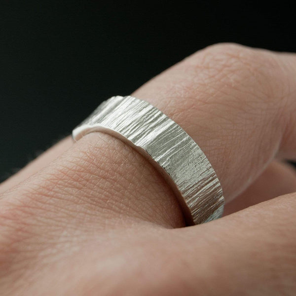 Set of 2 Wide Saw Cut Texture Wedding Bands - by Nodeform