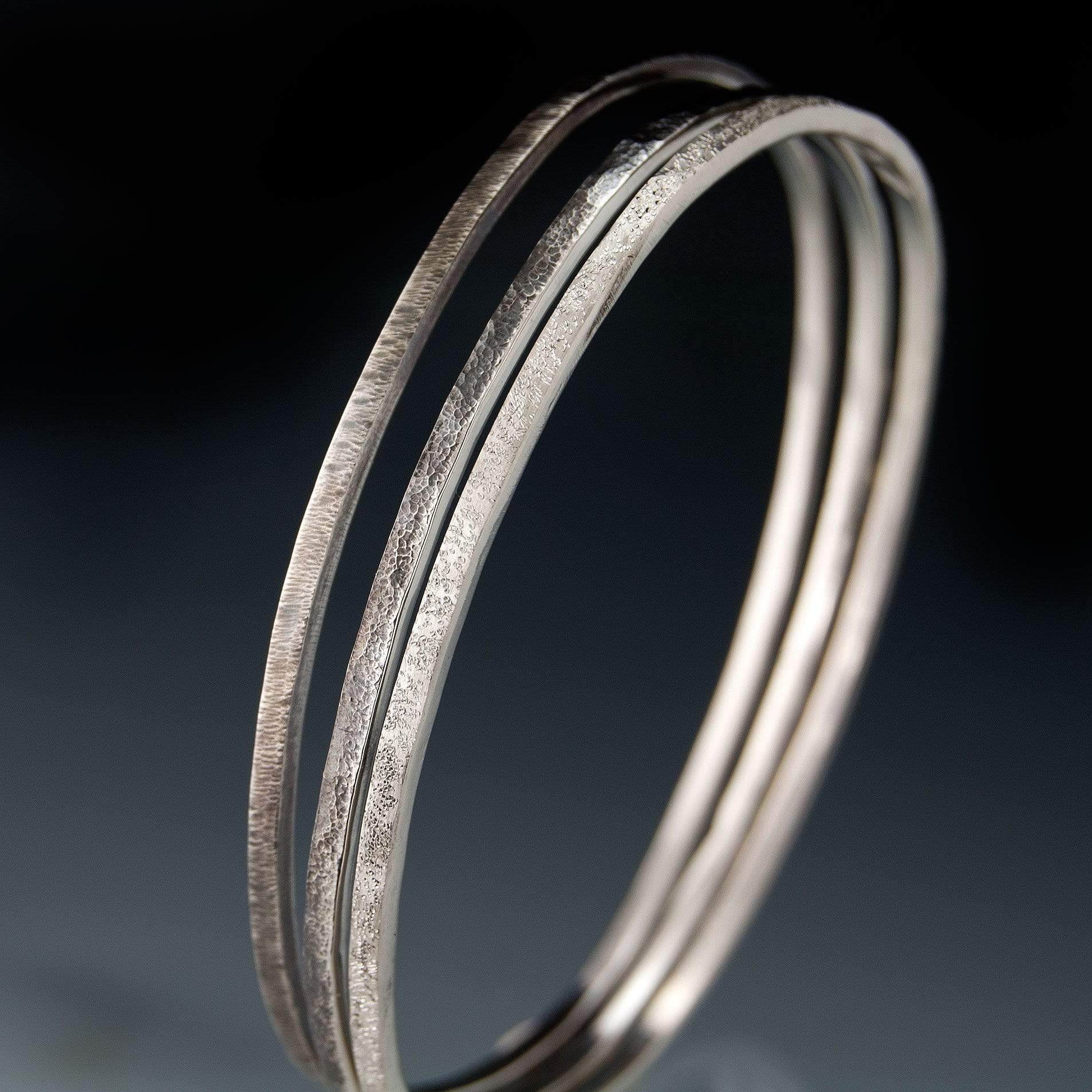 Set of 3 Thin HammerTextured Sterling Silver Bracelets