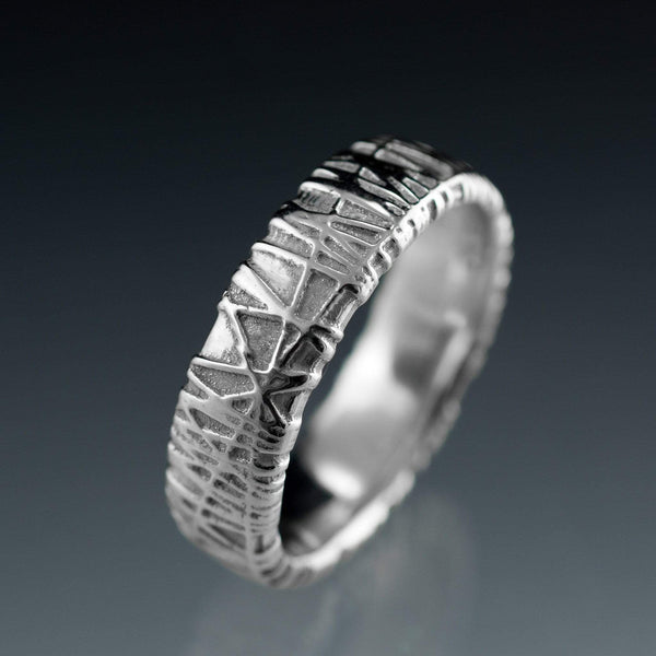 Wide Woven Texture Wedding Band, Bird Nest Ring - by Nodeform