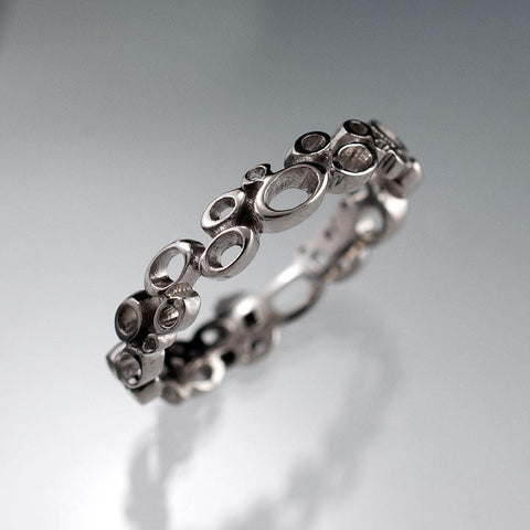 Cluster Wedding Ring, Narrow Bubbly Wedding Band