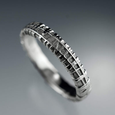 Narrow Woven Texture Wedding Band
