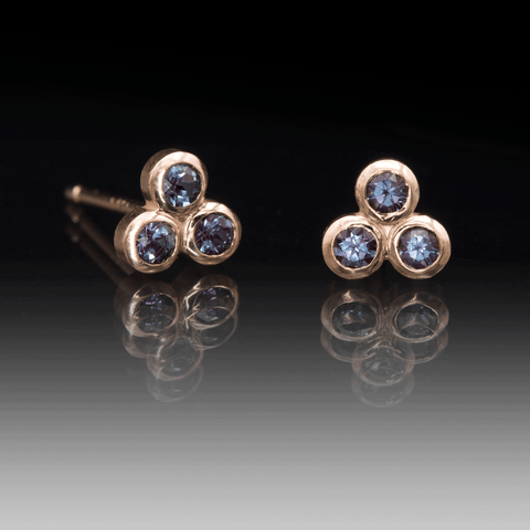 Chatham Alexandrite Trio Bezel Cluster Stud Rose Gold Earrings, Ready To Ship