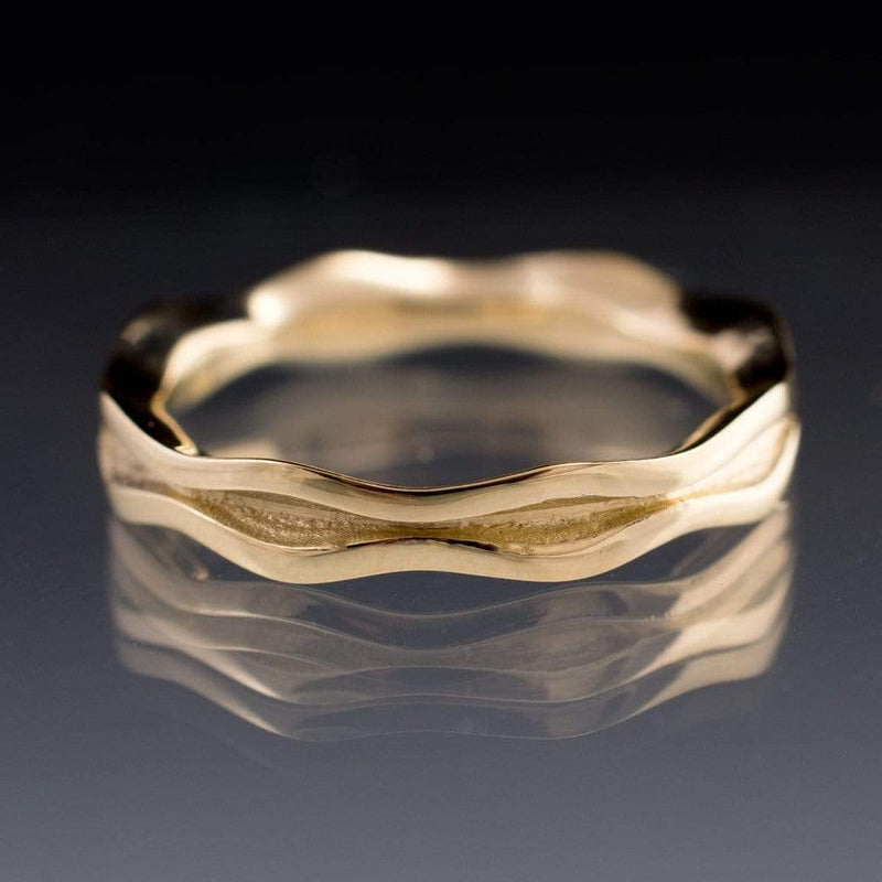 Wave Narrow Wedding Ring in Yellow or Rose Gold - by Nodeform