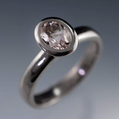 Oval Morganite Heavy Halo Bezel Solitaire Engagement Ring in Silver/Palladium, size 5.5 to 7.5