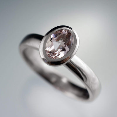 Oval Morganite Heavy Halo Bezel Solitaire Engagement Ring