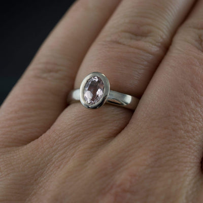 Oval Morganite Heavy Halo Bezel Solitaire Engagement Ring in Silver/Palladium, size 5.5 to 7.5 - by Nodeform
