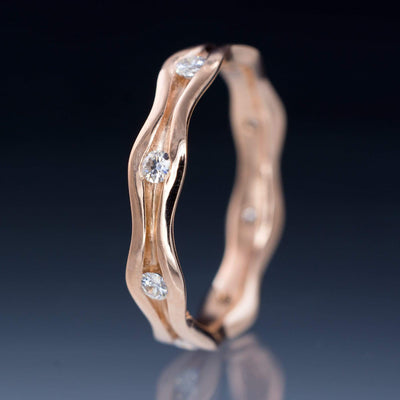 Wave Diamond Eternity Rose Gold Wedding Ring - by Nodeform