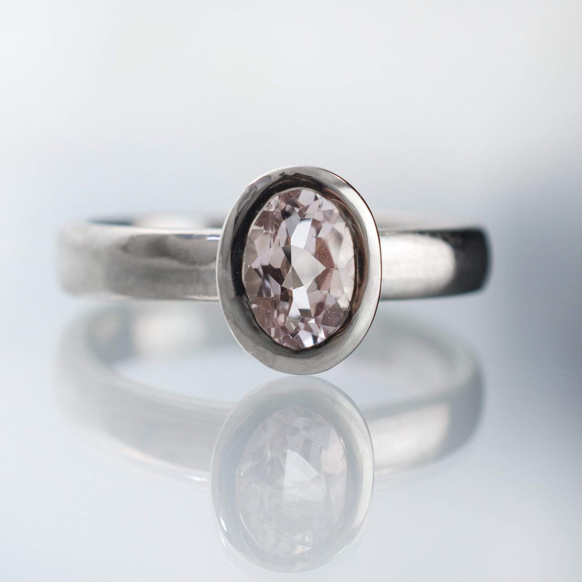Oval Morganite Heavy Halo Bezel Solitaire Engagement Ring - by Nodeform