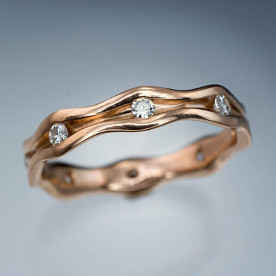 Wave Moissanite Eternity Rose Gold Wedding Ring - by Nodeform