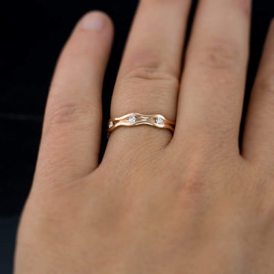 Wave Diamond Eternity Rose Gold Wedding Ring