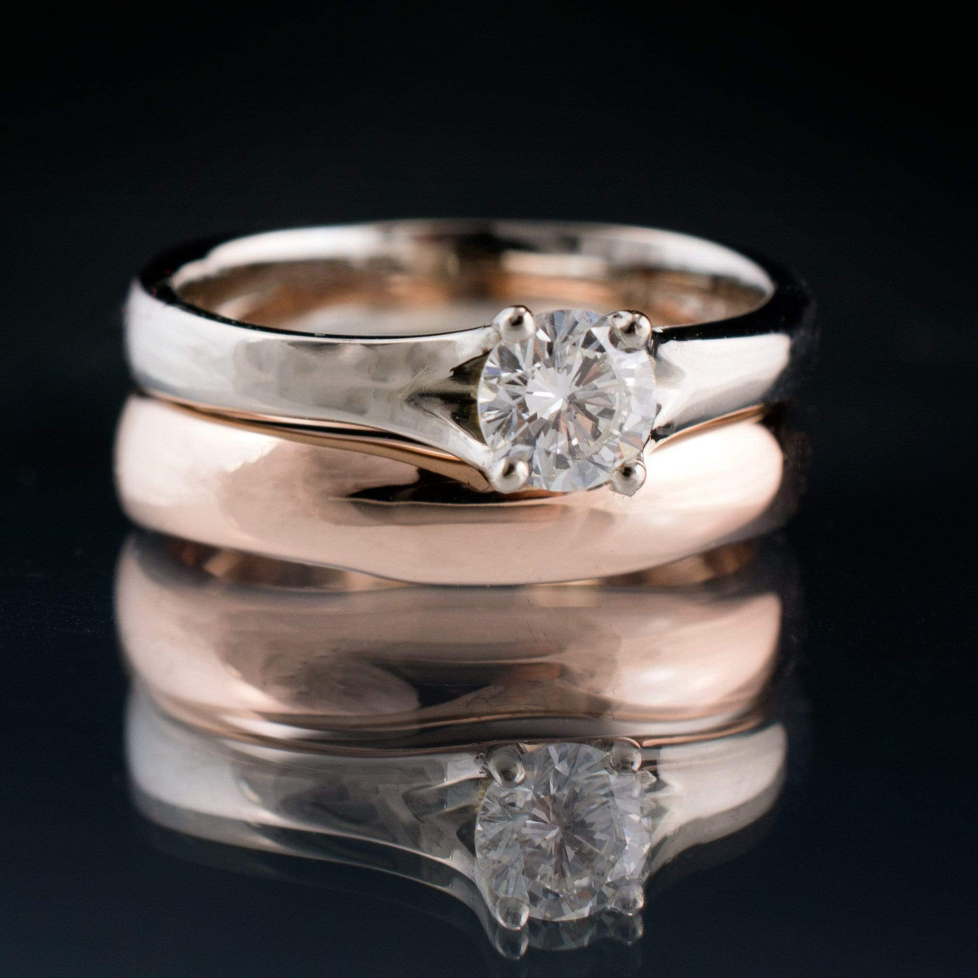 Bridal Set Diamond Prong Engagement Ring and Rose Gold Wedding Band - by Nodeform