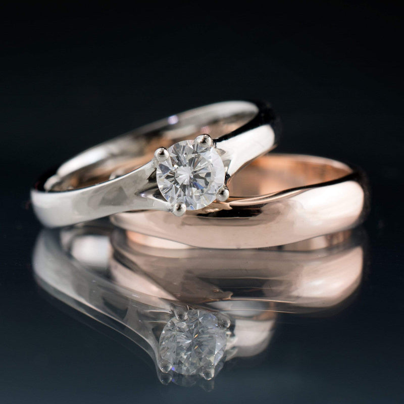 Bridal Set Diamond Prong Engagement Ring and Rose Gold Wedding Band